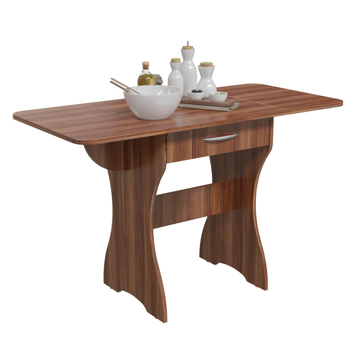 Стол обеденный раскладной с ящиком Гранд-Кволити 6-02.120 слива, 120х57х75 см фото