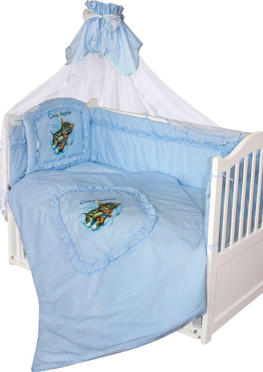 Комплект в кроватку Золотой гусь Аленка голубой