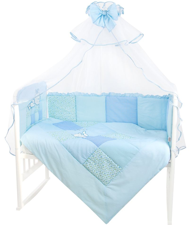 Комплект в кроватку Золотой гусь Кошки-Мышки голубой