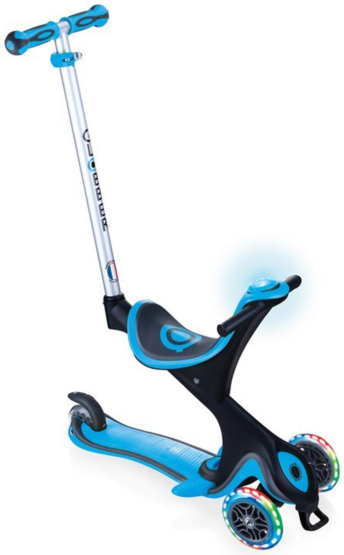 Купить Трёхколёсный самокат Globber GO UP COMFORT PLAY LIGHTS голубой, Самокаты детские трехколесные