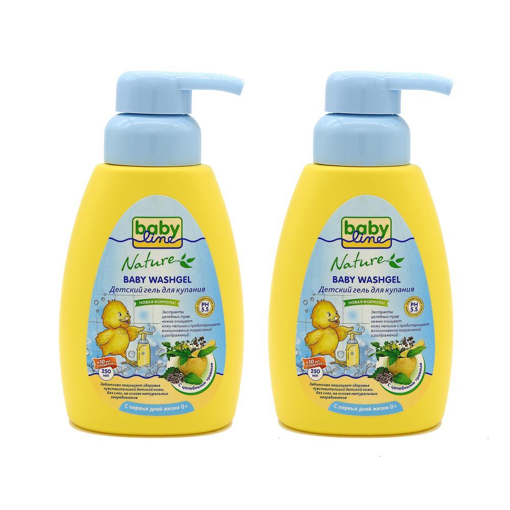 Купить Гель для купания Babyline с целебными травами с первых дней жизни, 2x250 мл,