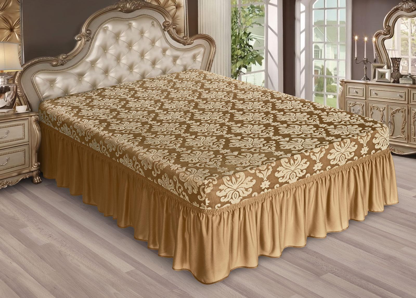 Marianna I.M.A. TEKS Жаккард с оборкой Чехол на кровать 200х200 - Бронза