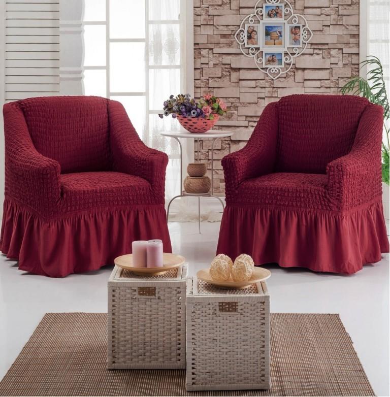 Набор чехлов на 2 кресла, бордовый