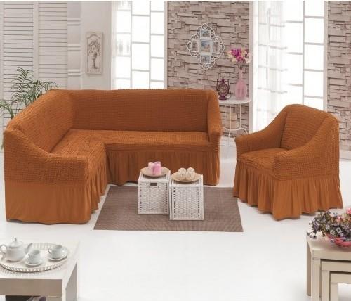 Чехлы на угловой диван и кресло, кирпичный