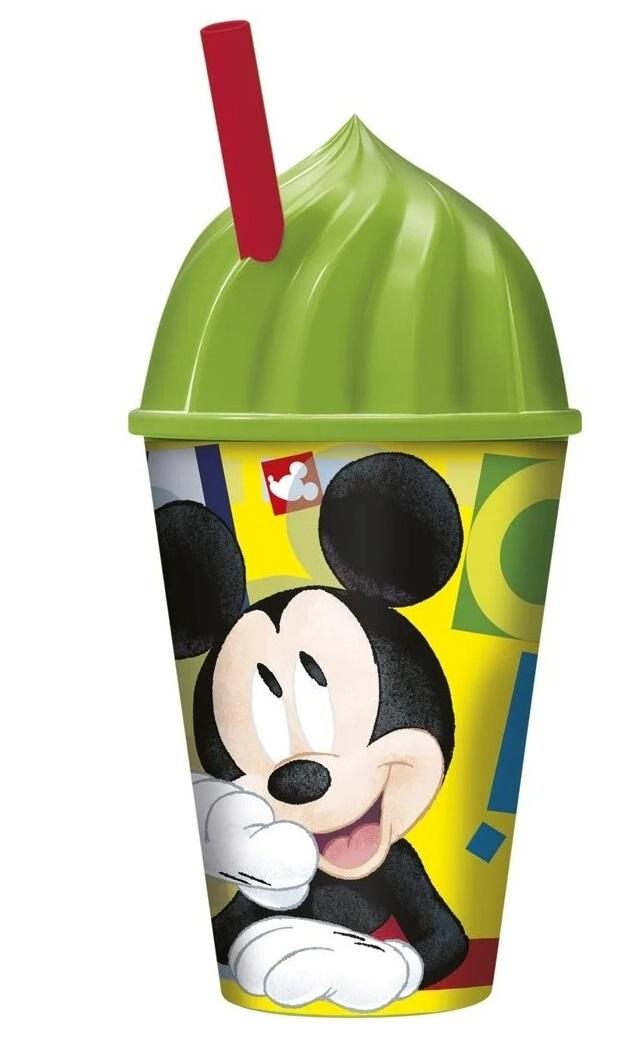 Купить Стакан пластиковый с соломинкой и объемной крышкой Микки Маус. Акварель, 430 мл ND Play,