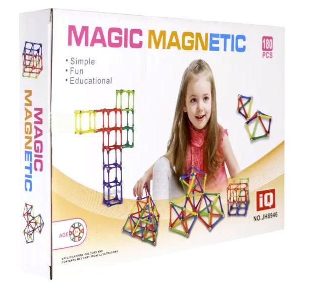 Купить Магнитный конструктор Magic Magnetic, 180 элементов Пирамида открытий, KriBly Boo,