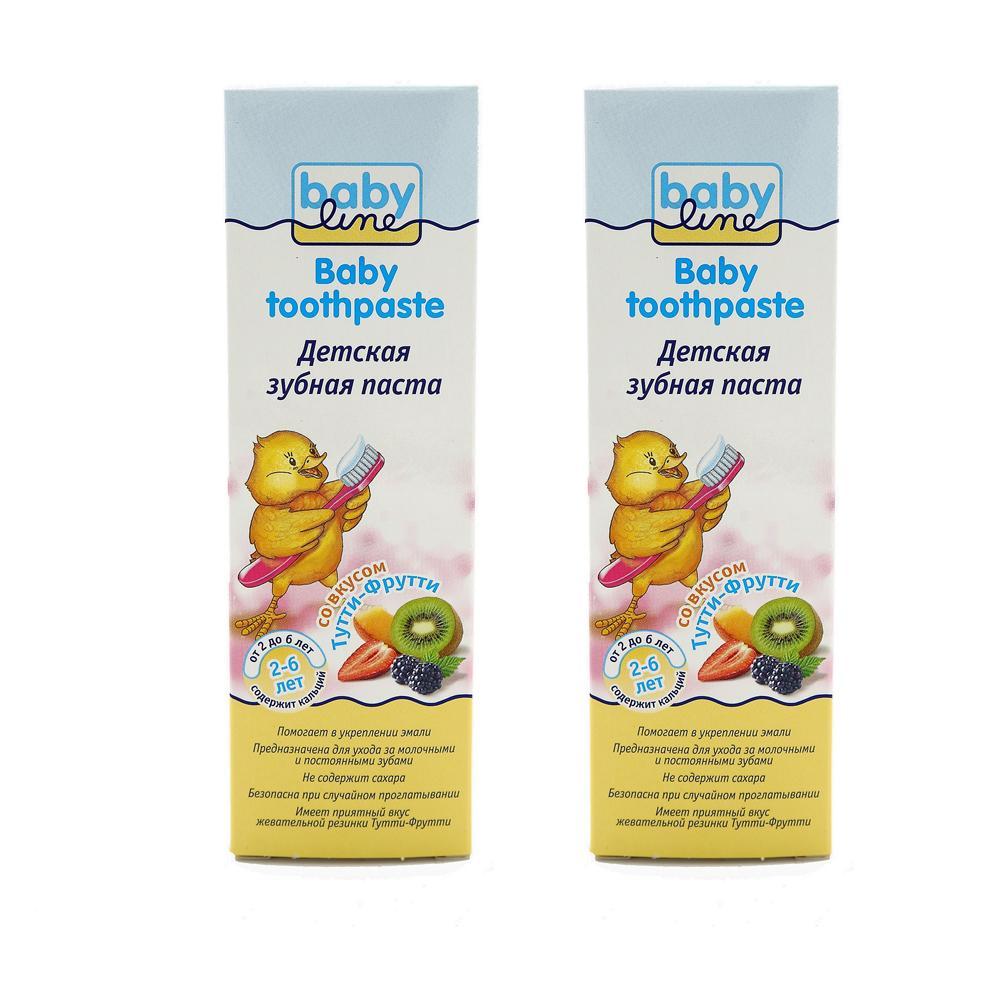 Купить Детская зубная паста Babyline со вкусом Тутти-Фрутти, 2x75 мл,