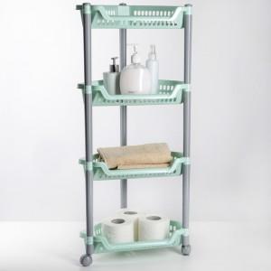 Этажерка напольная угловая четырехсекционная, на колесиках, 38х30х82