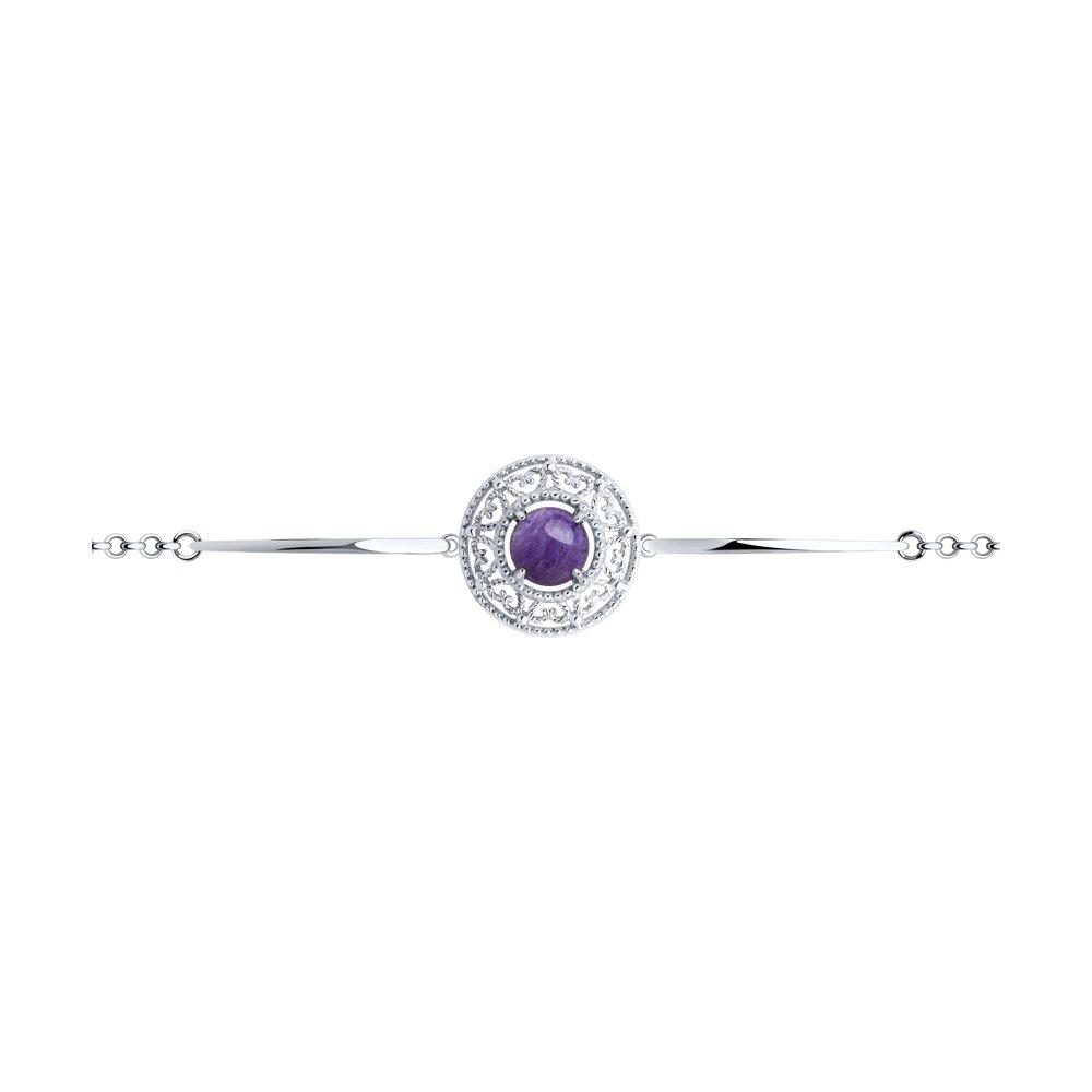 Браслет из серебра с чароитом р. 19 Diamant 94-350-00839-1