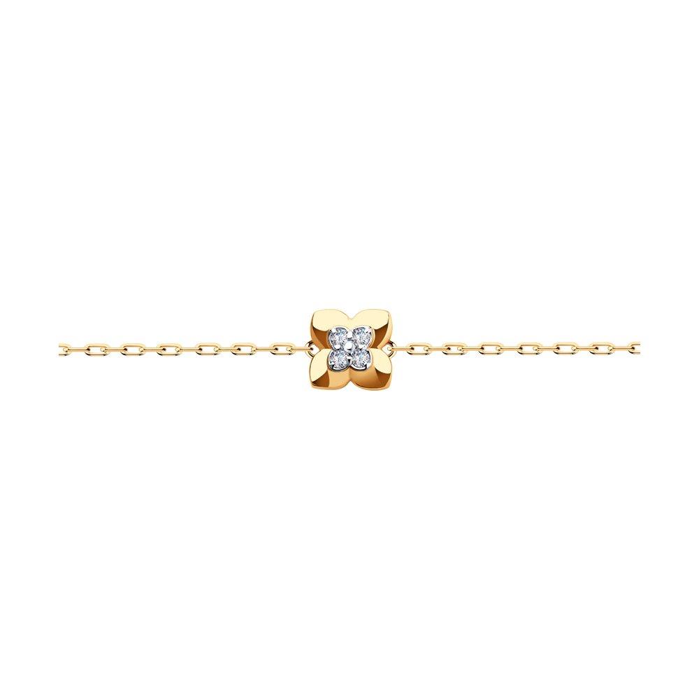 Браслет из красного золота с фианитом р. 17 Diamant 51-150-01335-1