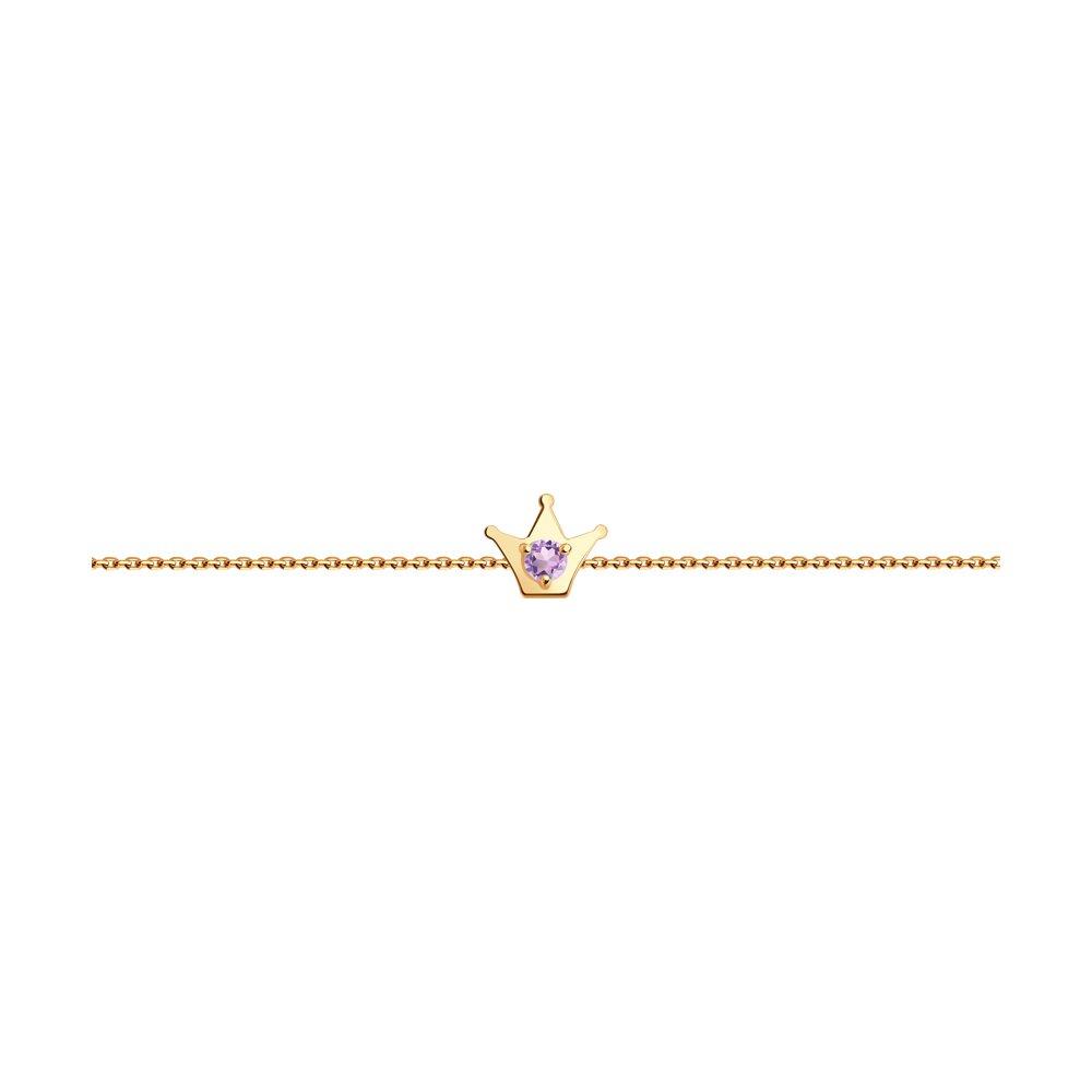 Браслет из красного золота с аметистом  р. 17 Diamant 51-350-01313-1