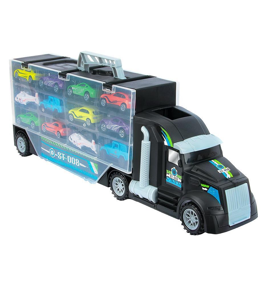 Купить С 12 машинками , со скоростным съездом, в коробке, Игровой набор Junfa с 12 машинками, P858-A, Junfa toys,