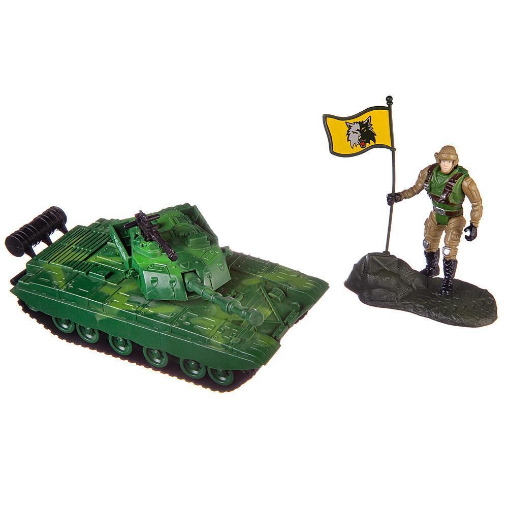 Купить Боевая сила , Танк, фигурка солдата, аксессуары, в пакете, Игровой набор ABtoys Боевая сила, PT-01444,