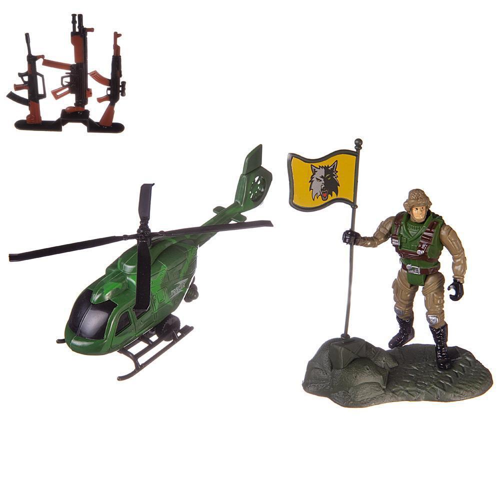 Купить Боевая сила , Вертолет, фигурка солдата и другие аксессуары, в пакете, Игровой набор ABtoys Боевая сила, PT-01443,