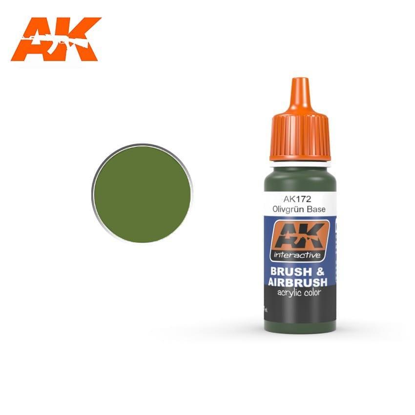 Купить Краска акриловая AK Interactive OLIVGRUN BASE немецкий оливковый, основа,
