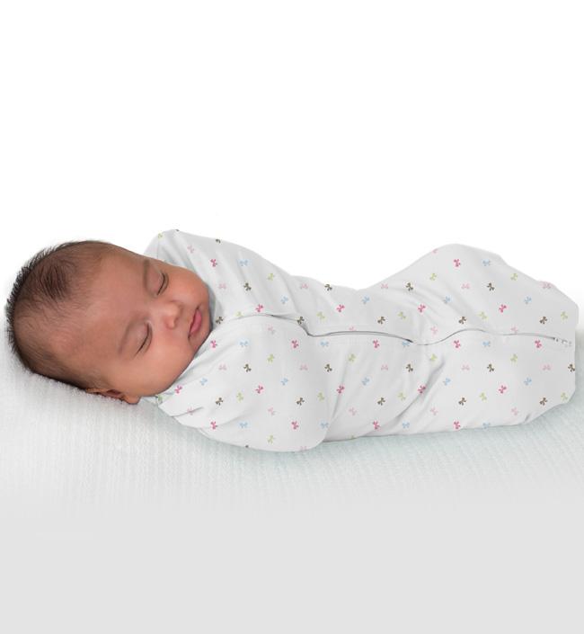 Купить 54056, Summer Infant Конверт для пеленания новорожденных на молнии SwaddlePod бантики,
