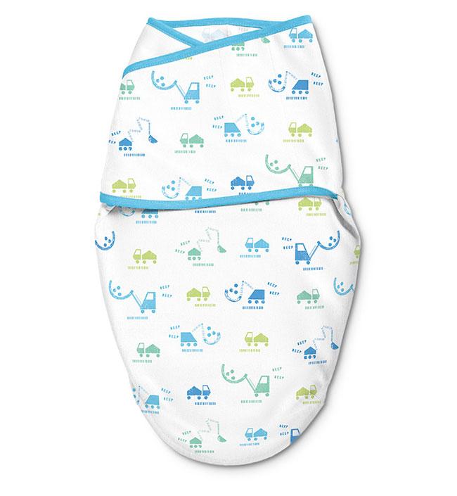 Купить 58806, Конверт для пеленания на липучке SwaddleMe Luxe Whisper Quiet S/M, голубые/зеленые машинки, SUMMER INFANT,