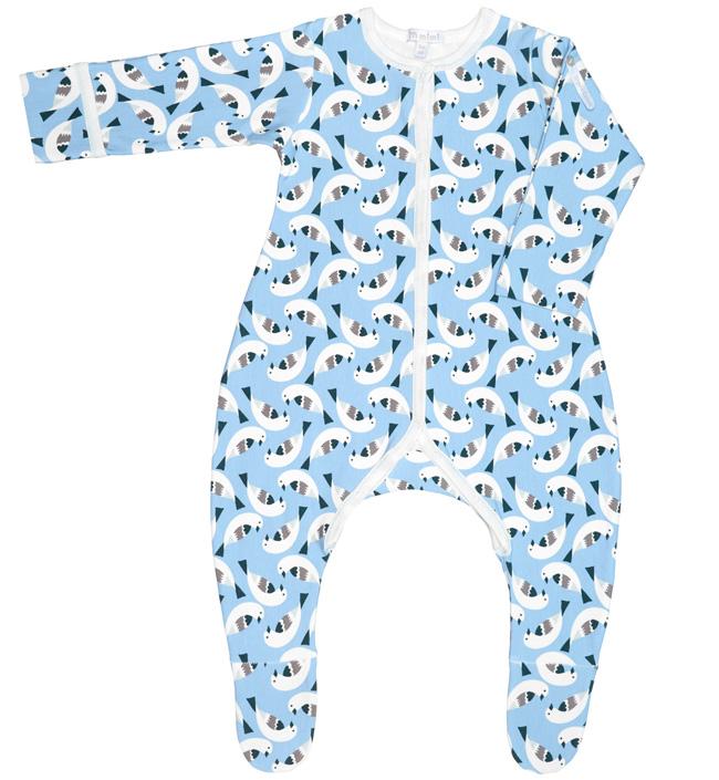 Купить 371054_68, Комбинезон-слип immimi Птички ORGANIC фланелевый голубой068, для детей от 3 до 6 мес.,