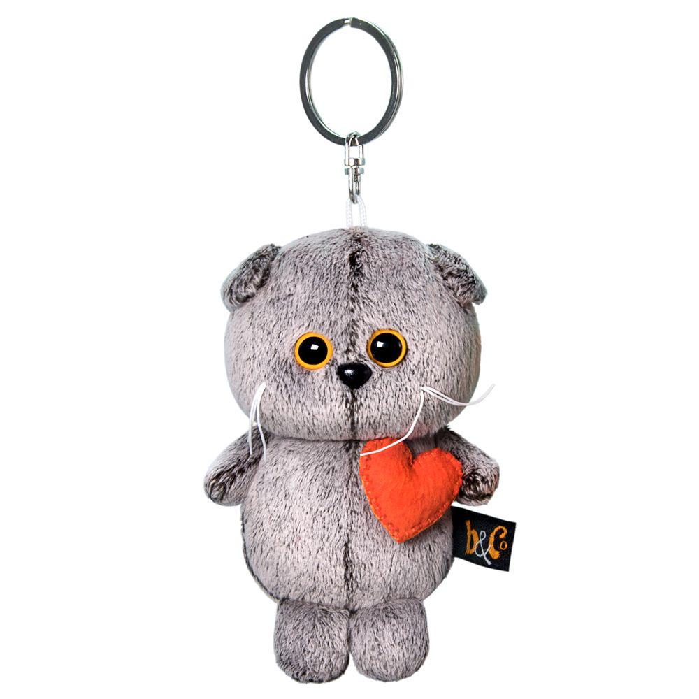Купить Мягкая игрушка Basik&Ko Кот Басик с сердечком, 12 см, BUDI BASA,