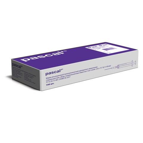Купить Шприц 3-х компонентный PASCAL 5 мл КОМПЛЕКТ 100 шт. в коробке игла 0, 7х30 22G 120406