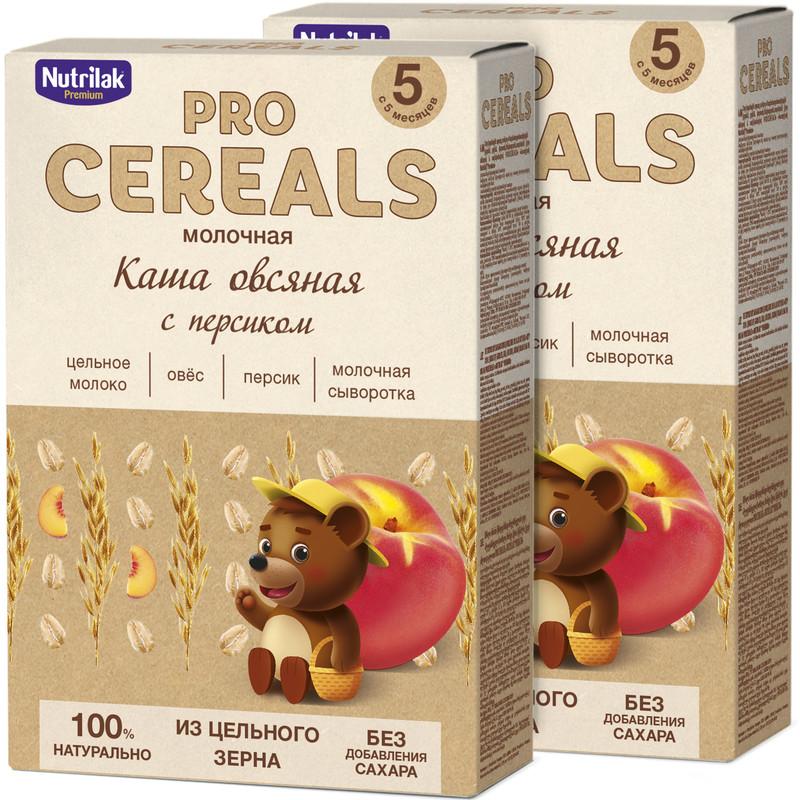 Купить Каша молочная Nutrilak Premium Procereals овсяная персик с 5мес. 2 шт. по 200гр.,