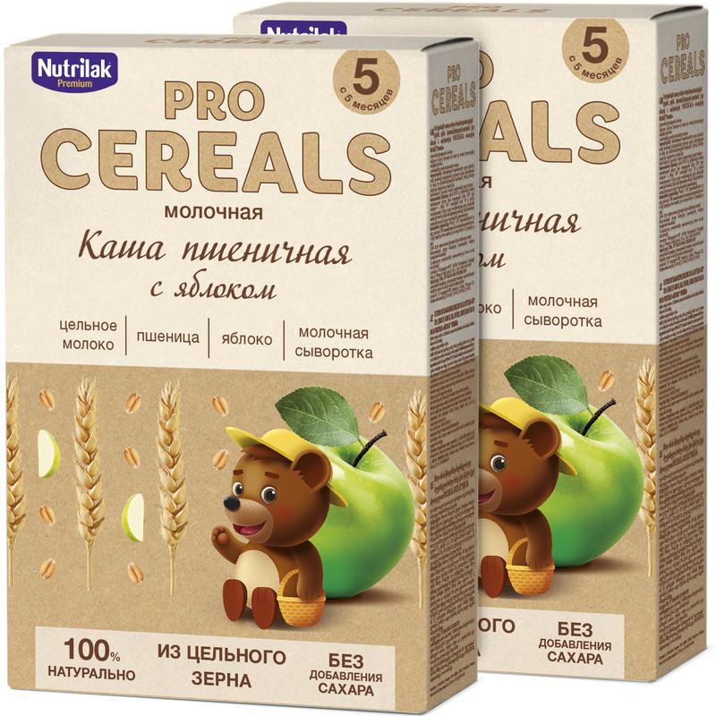 Купить Каша молочная Nutrilak Premium Procereals пшеничная яблоко с 5мес. 2 шт. по 200гр.,