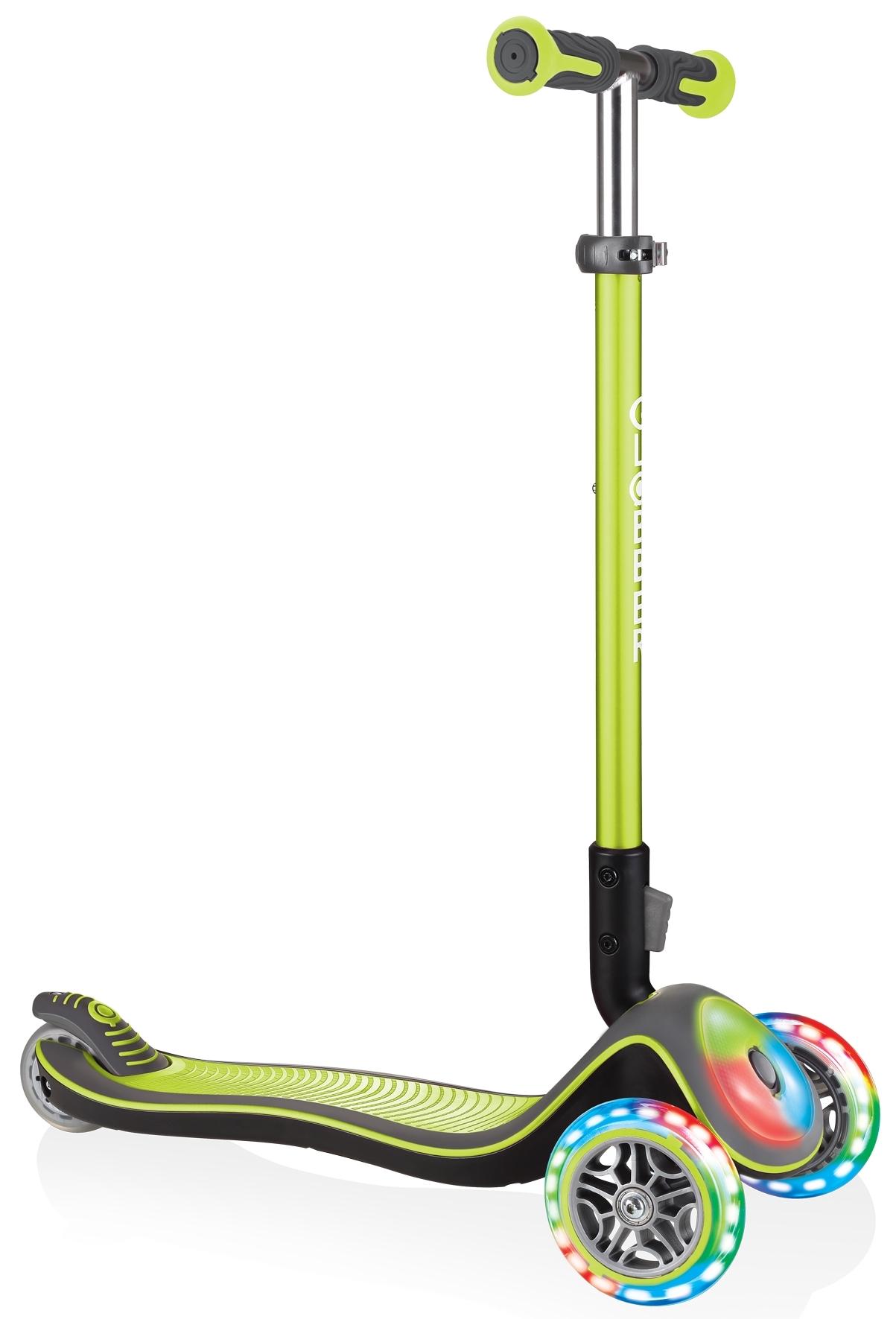 Купить Трёхколёсный самокат Globber ELITE DELUXE FLASH LIGHTS зелёный, Самокаты детские трехколесные