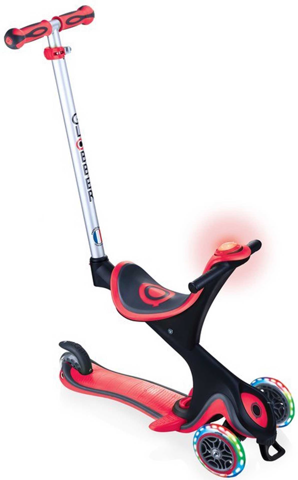 Купить Трёхколёсный самокат Globber GO UP COMFORT PLAY LIGHTS красный, Самокаты детские трехколесные