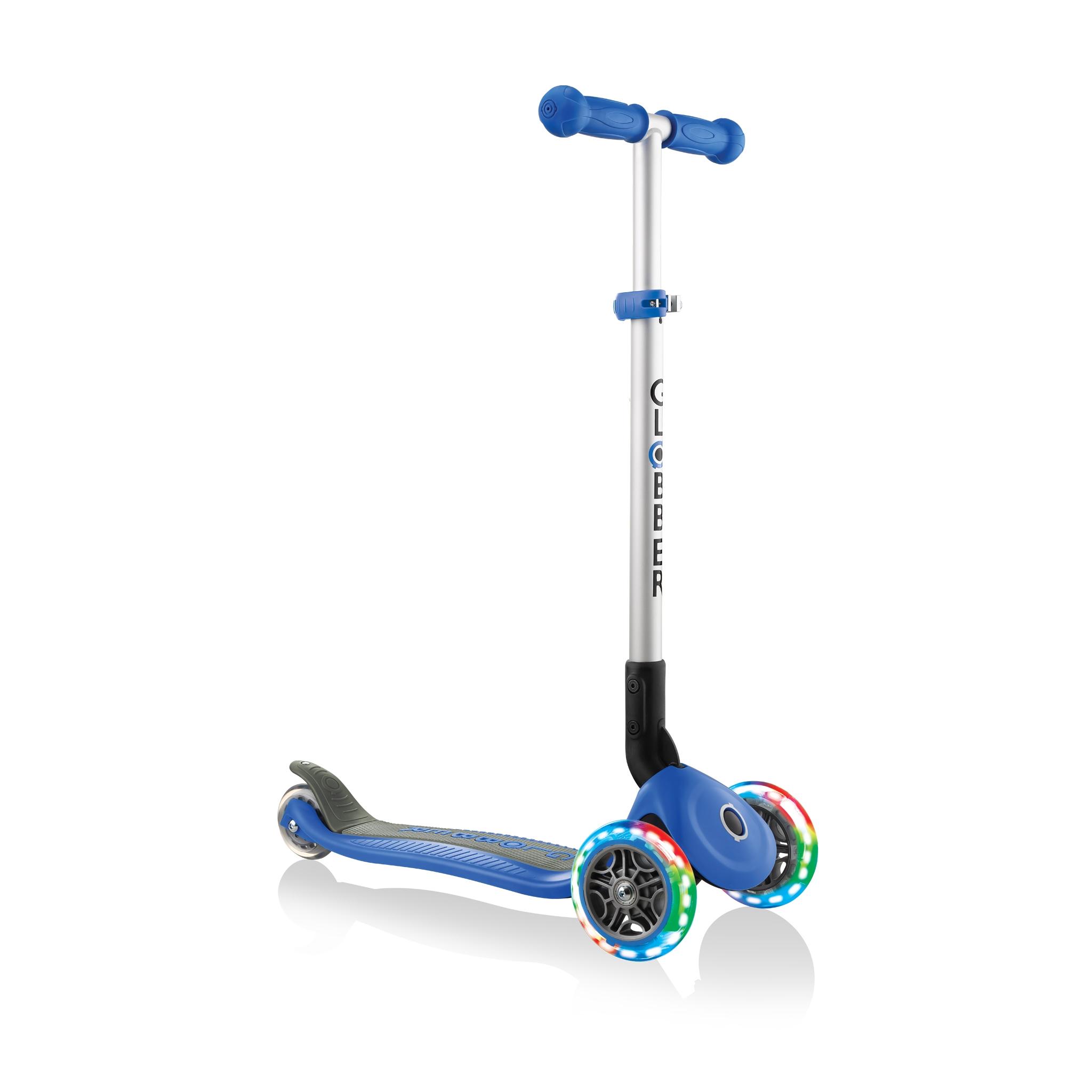 Купить Трёхколёсный самокат Globber PRIMO FOLDABLE LIGHTS синий, Самокаты детские трехколесные