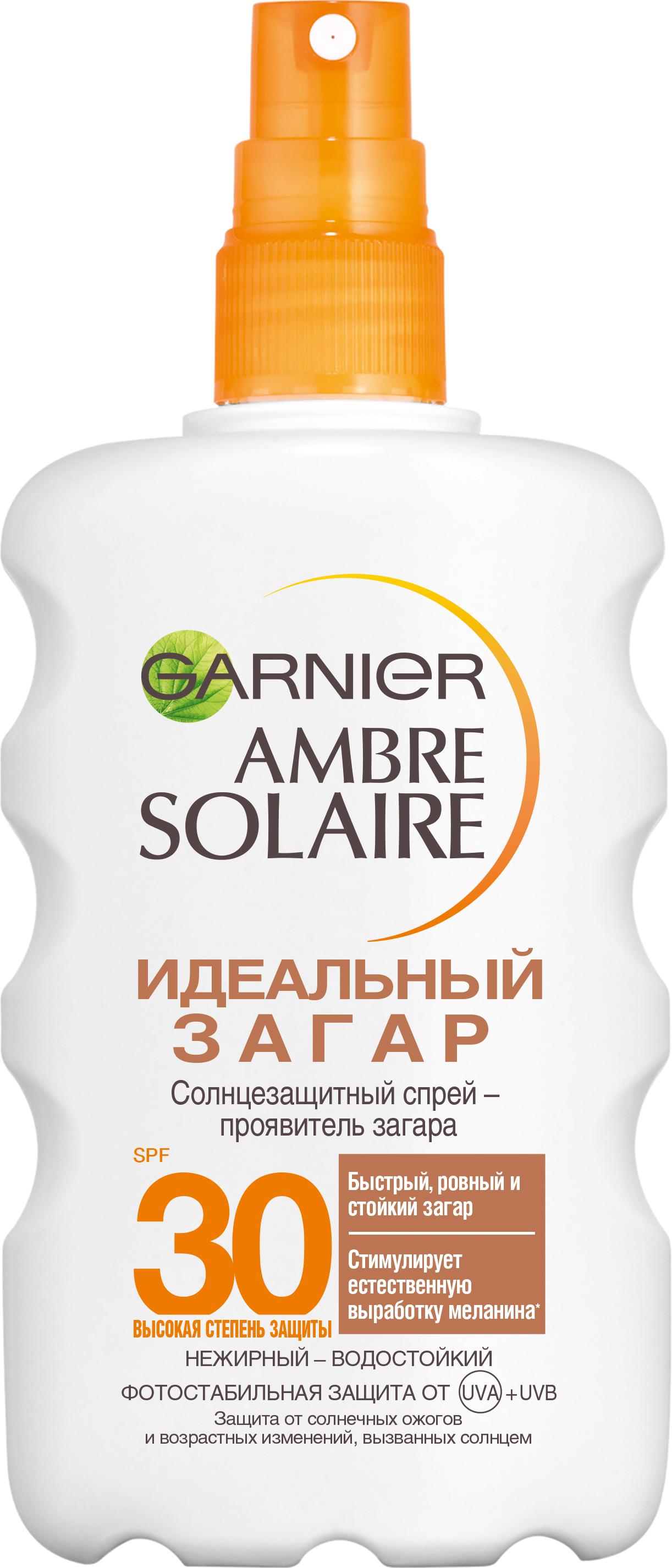Купить Солнцезащитный спрей-проявитель загара Garnier Ambre Solaire Идеальный загар SPF 30 200 мл, идеальный загар 200 мл