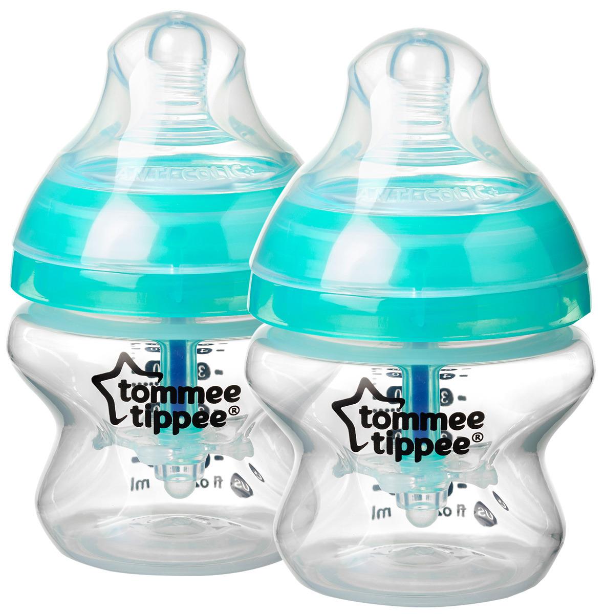 Бутылочка для кормления антиколиковая Tommee Tippee с индикатором температуры 150 мл, 2 шт фото