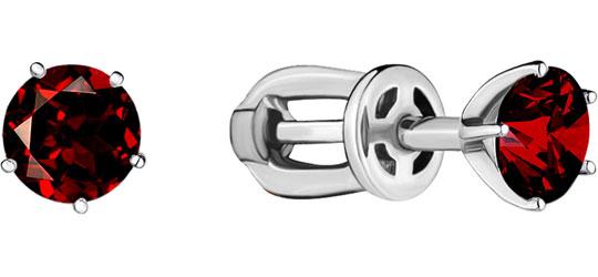 Серьги-пусеты женские Aquamarine 4403603-S-a из серебра, гранат фото