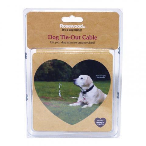 Металлический трос для привязи собак с карабином