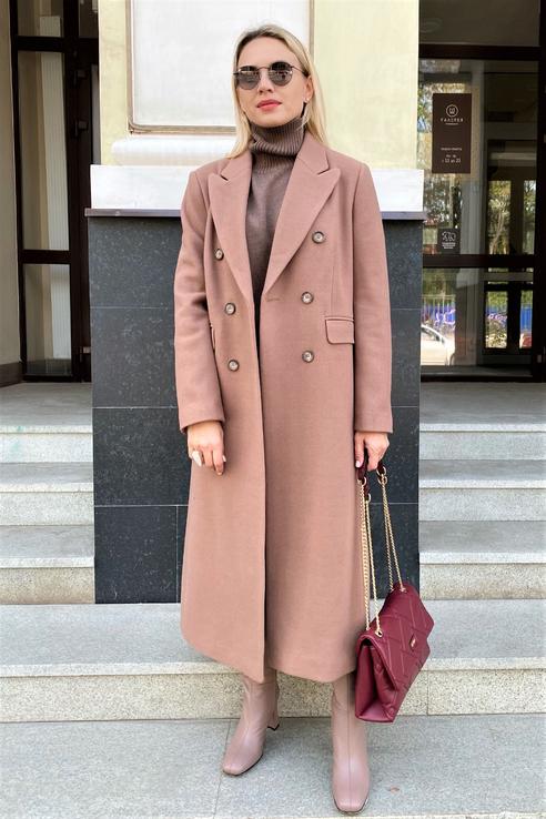 Пальто женское Emka R077/lorance бежевое 52