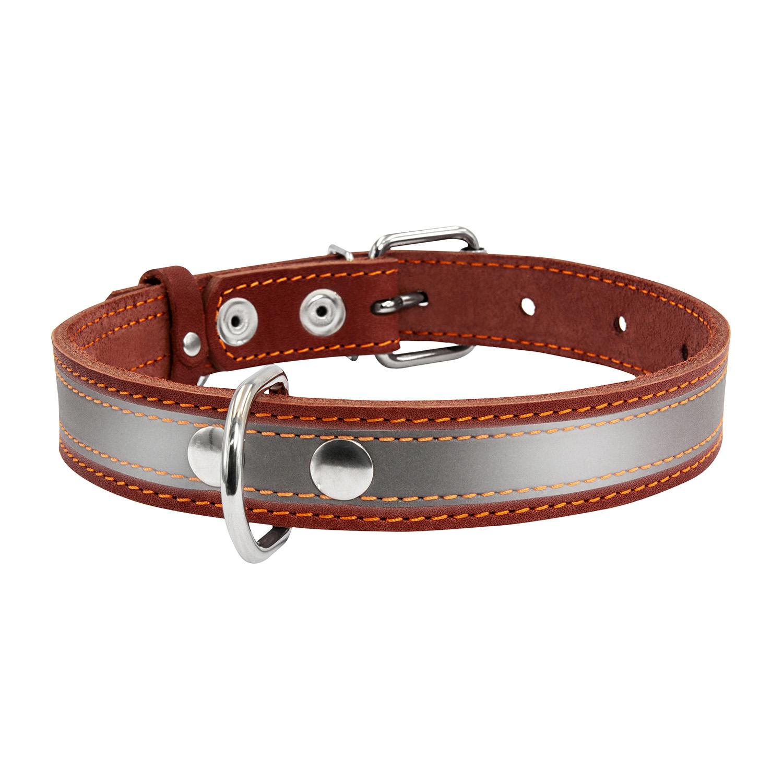 Ошейник для собак Collar, кожаный, со светоотражающей лентой, коричневый, 38-50 см x 25 мм фото