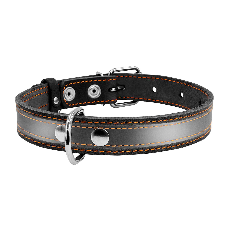 Ошейник для собак Collar, кожаный, со светоотражающей лентой, черный, 20мм х 32-40см фото