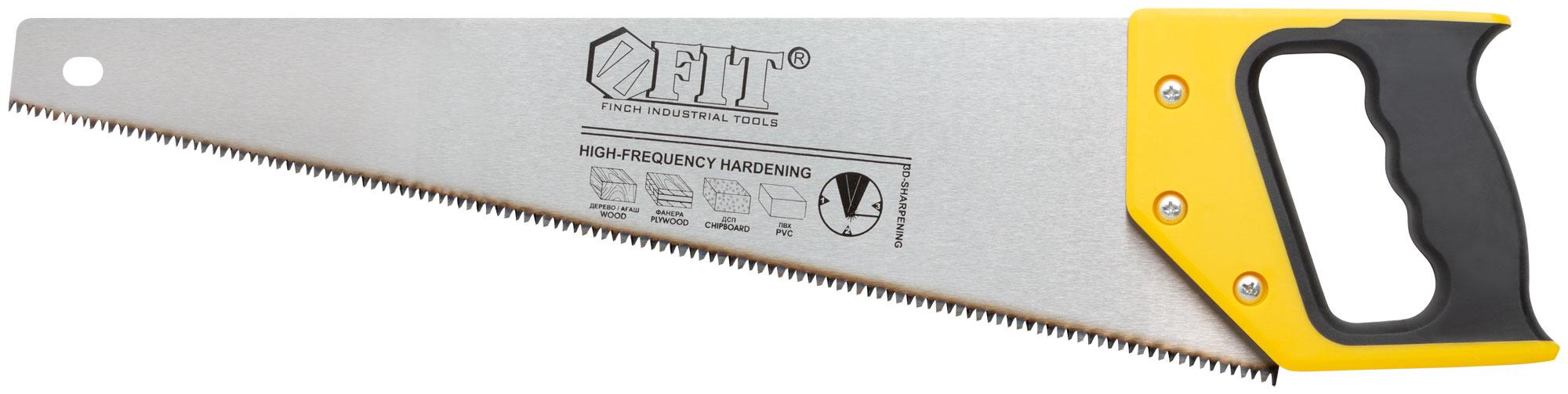 Ножовка по дереву, 450 мм, 7 ТPI, 3D заточка, FIT 40445