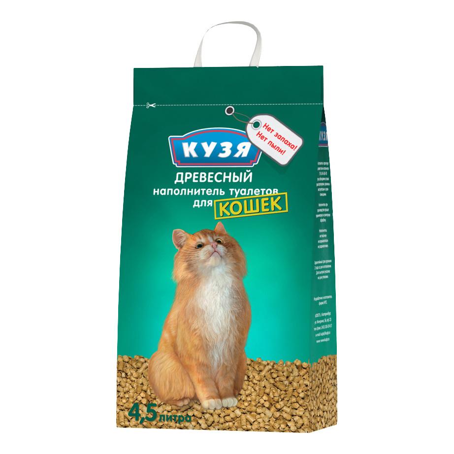Впитывающий наполнитель для кошек Кузя древесный, 2.8 кг, 4.5 л фото
