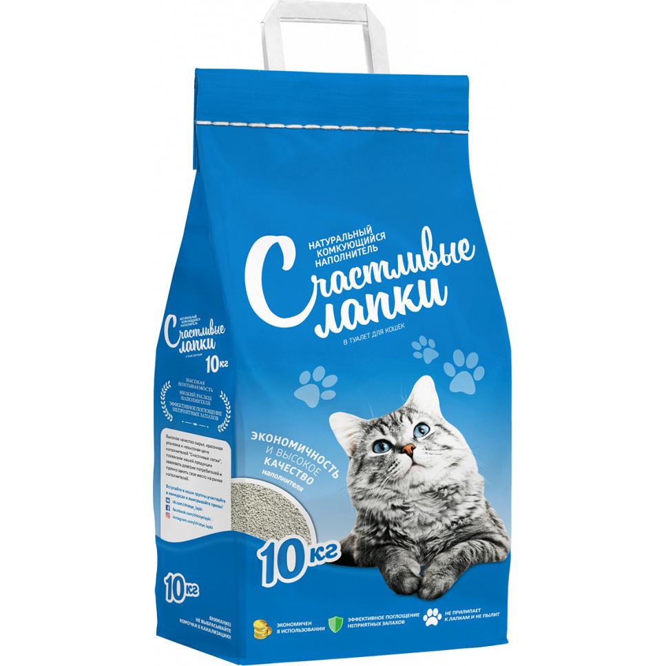 Комкующийся наполнитель для кошек Счастливые Лапки бентонитовый, 10 кг фото