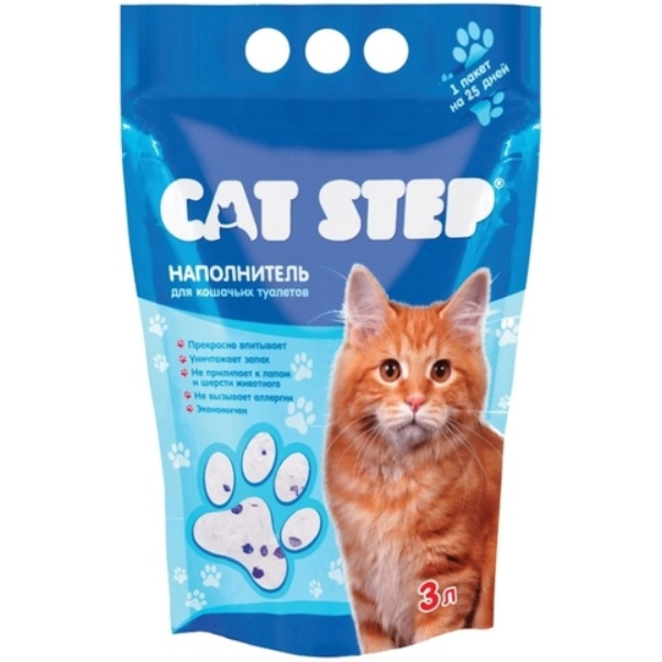 Впитывающий наполнитель для кошек Cat Step силикагелевый, 1.4 кг, 3 л фото