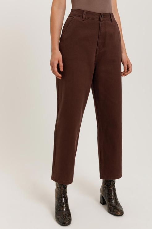 Джинсы женские Sela 0810011445 коричневые 46