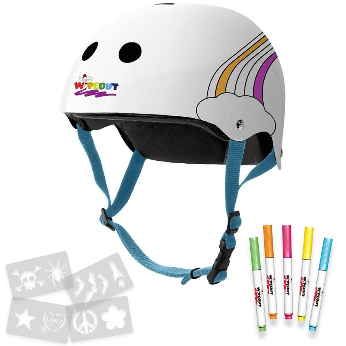 Купить White Rainbow (M 5+) - белый, Шлем Wipeout с фломастерами White Rainbow белый JL06F5389069 р. M 5+,