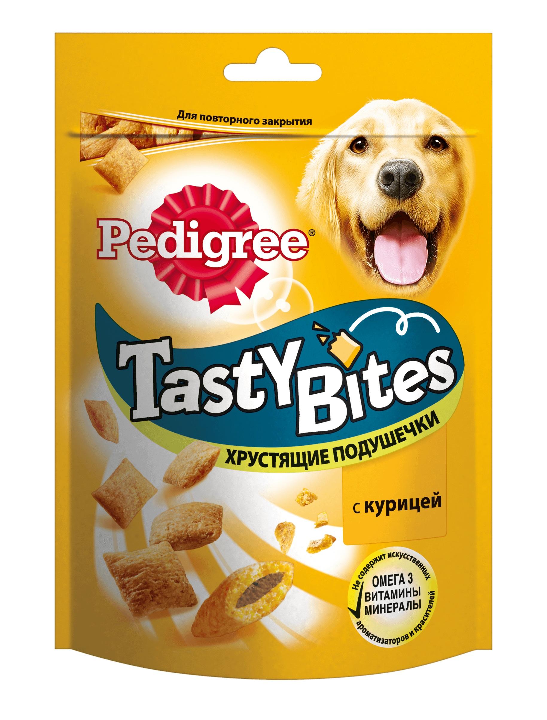 Лакомство для собак Pedigree Tasty Bites, подушечки, курица, 95г фото