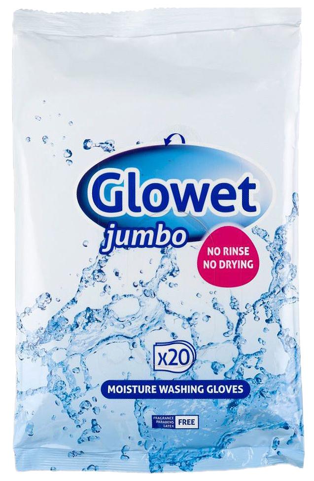 Рукавицы, влажные, пропитанные моющим лосьоном Glowet Jumbo