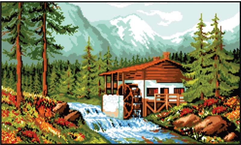 Набор для вышивания Rogoblen гобелена `Водяная мельница` (15 х 25 см)