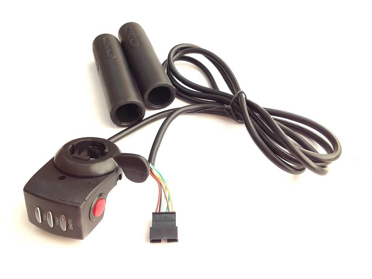 """Ручка газа """"Рычаг"""" 24В с индикатором для электровелосипеда"""