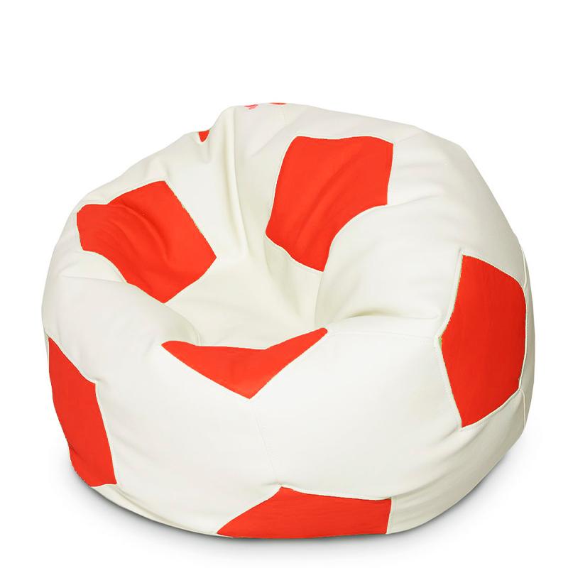Кресло мяч Экокожа красно-белый XXXL