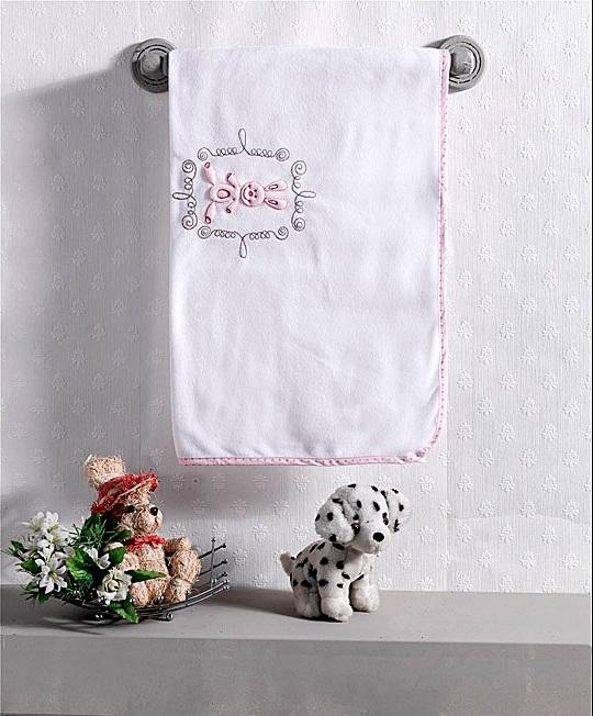 Купить Плед KidBoo Rabbito флисовый, белый/розовый,