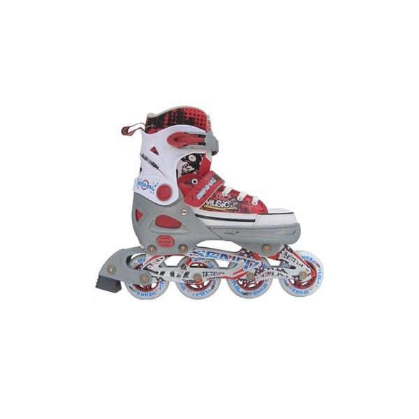 Раздвижные роликовые коньки Trans Roller серо красные,