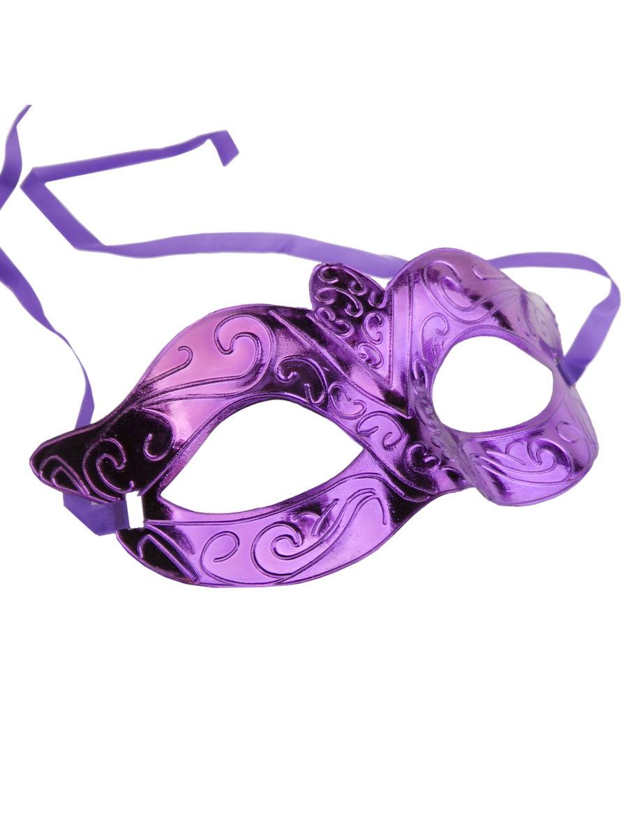Купить Карнавальная маска Блестящая фиолетовая арт.75240 Феникс-Презент,